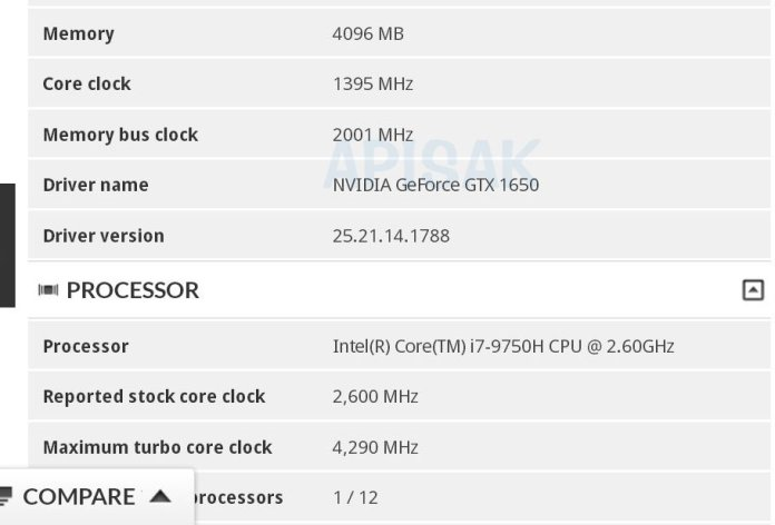 GTX 1650 specifications