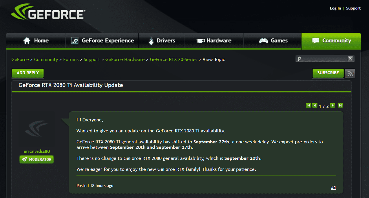 GeForce RTX 2080 Ti Availability Delayed by a week