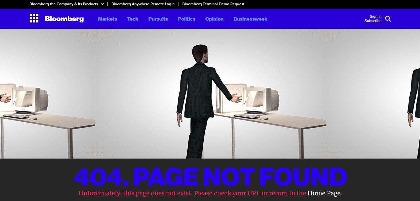 Bloomberg Error 404 Page