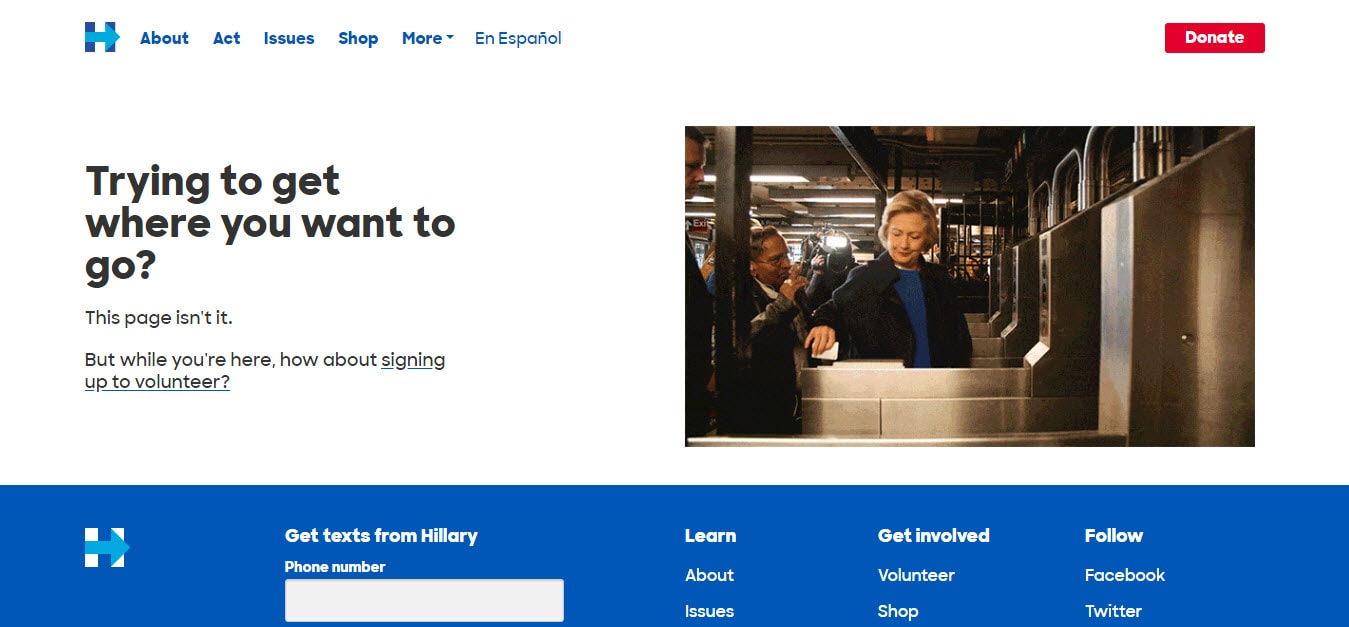 Hilary Clinton 404 Error Page