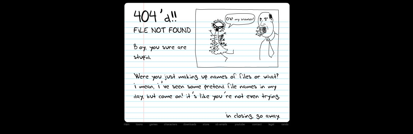 Homestar Runner Funniest 404 Error Page Not Found Page