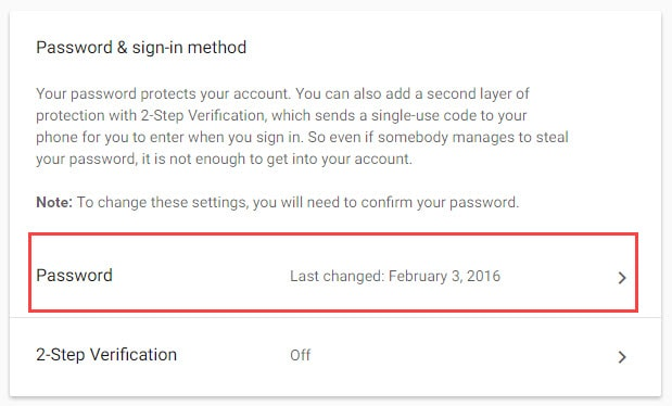 Password Change in Gmail