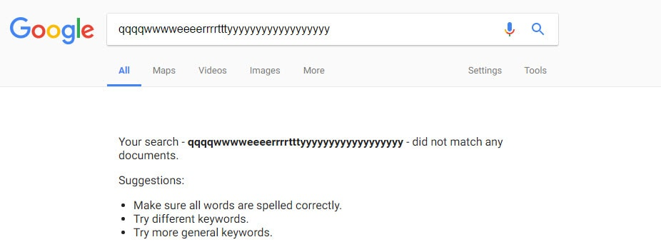 Non-Existing Search term in Google WWW Website
