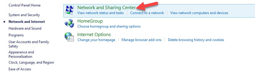 DNS Change in Windows 7 Network and Sharing Center