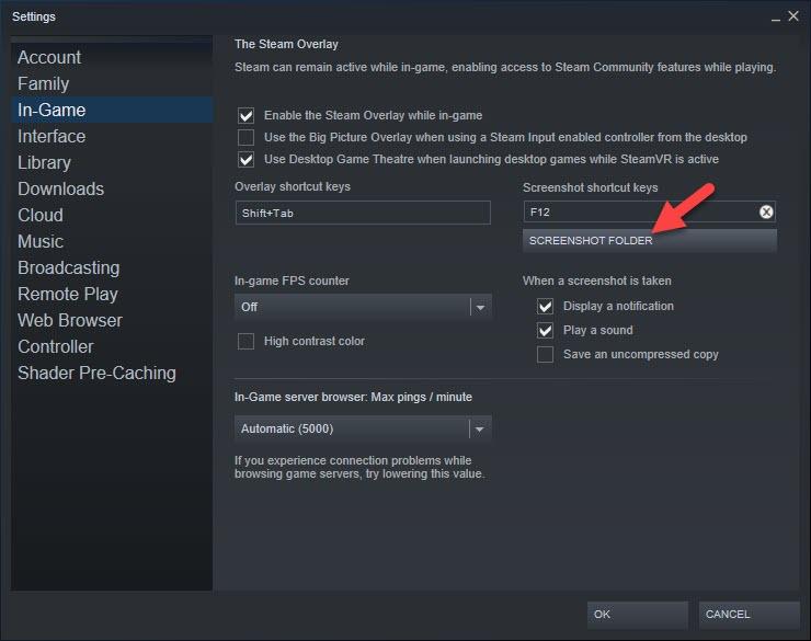 Change Steam Screenshot Folder