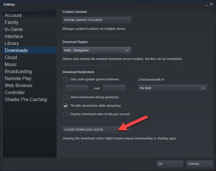 Clear Download Cache Steam