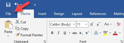 File Tab in Word