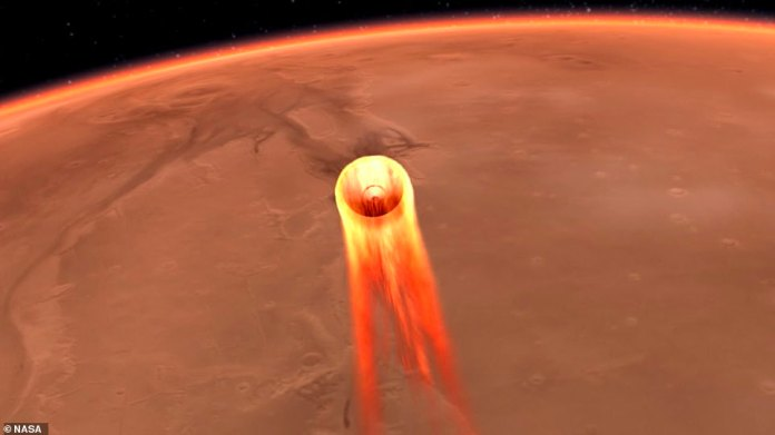 The InSight probe should enter the Martian atmosphere at 12,300mph before an array of 12 thrusters attempts to slow it down to 5mph for a safe touchdown. An artist's impression of its Mars entry is pictured