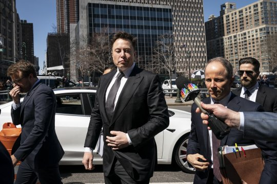 NEW YORK, NY - APRIL 4: Tesla CEO Elon Musk arrives at federal court, April 4, 2019 in New York City. A federal judge will hear oral arguments this afternoon in a lawsuit brought by the U.S. Securities and Exchange Commission (SEC) that seeks to hold Musk in contempt for violating a settlement deal. (Photo by Drew Angerer/Getty Images)