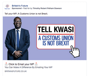 A pro-Brexit Facebook advert run by Britain's Future targeted at Conservative MP Kwasi Kwarteng