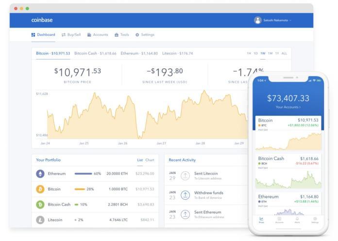 Coinbase's crypto wallet UI