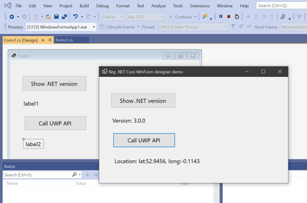 A Windows Forms app running on .NET Core and calling the UWP API