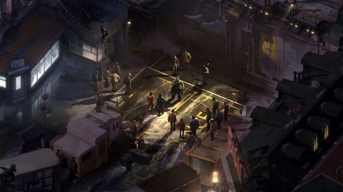 a group of people gather in a dystopian city in Disco Elysium