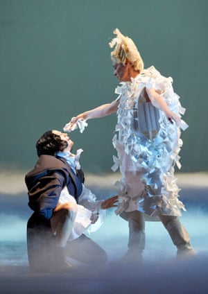 Kate Lindsey, left, and Agneta Eichenholz in the world premiere of Olga Neuwirth's Orlando, with costumes by Comme des Garçons.