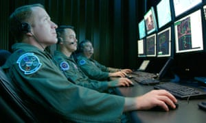 Cyber warfare specialists in the US Air Force run a test mission.