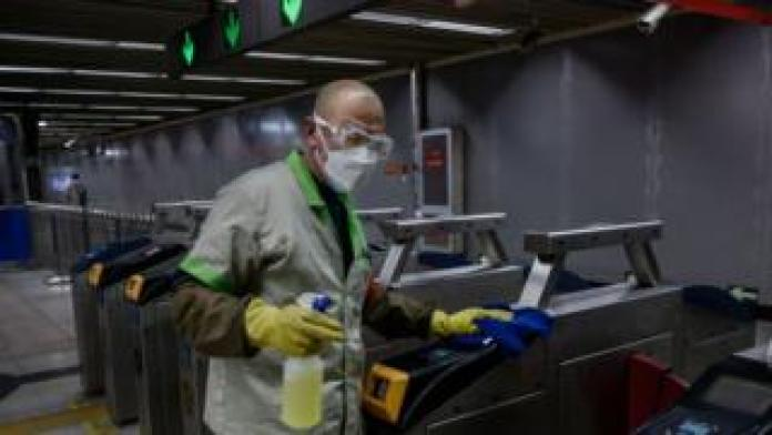 A man disinfects the subway in China