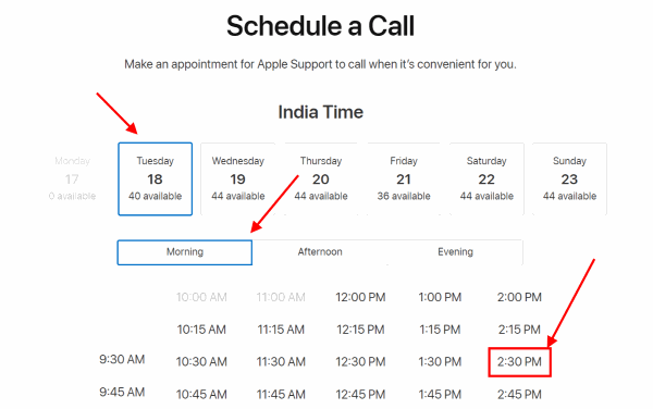 schedule apple care call