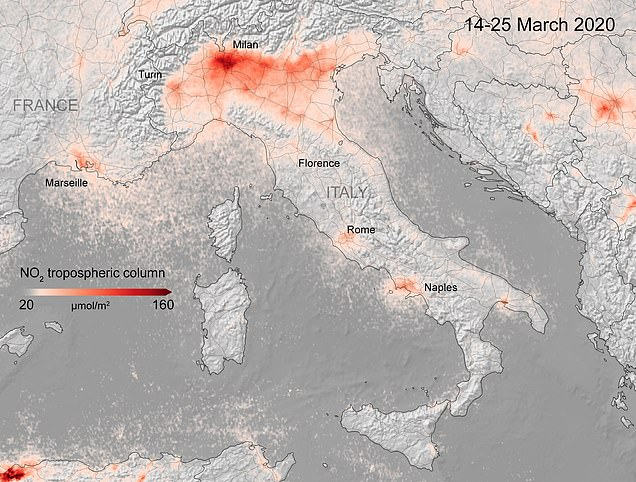 This image shows NO2 levels over Italy in March 2020