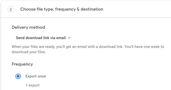 Google Takeout Delivery Method