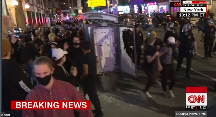 Horrifying video footage has emerged of New York Police Department officers clashing with protesters on Sunday night, chasing them and flinging them to the ground on the sixth night of demonstrations denouncing the police killing of black man George Floyd