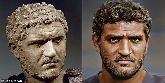 Bas created some of the portraits from images of statues or busts, like the one of Roman emperor Caracalla on the left. After the software create a base image, the artist said he used additional tricks to add to the likeness of the image