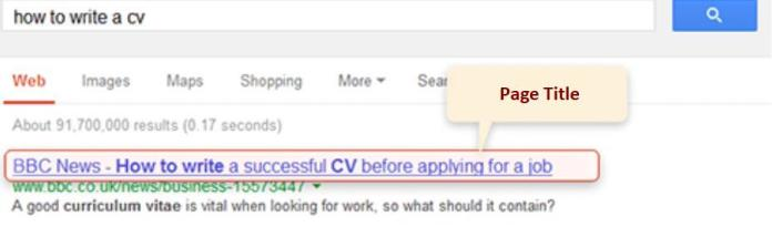page title - on-page seo