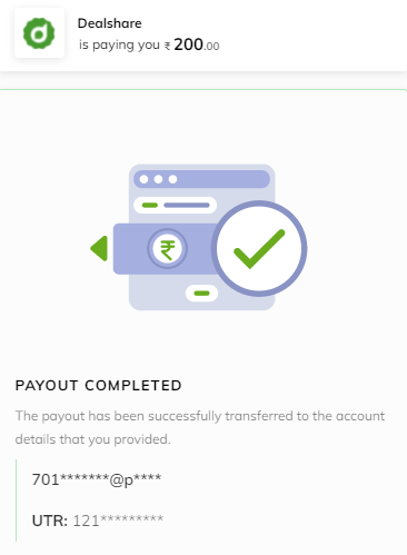 Dealshare payment proof