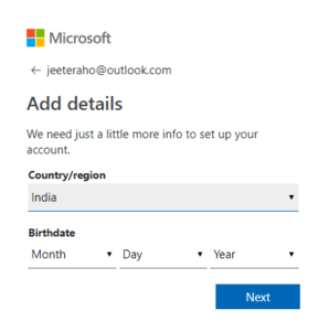 Add countrya and DOB to hotmail Account