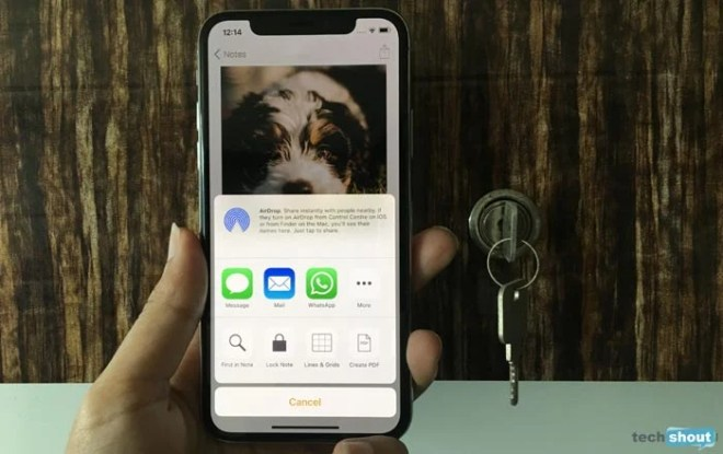 iPhone X Lock Notes Image