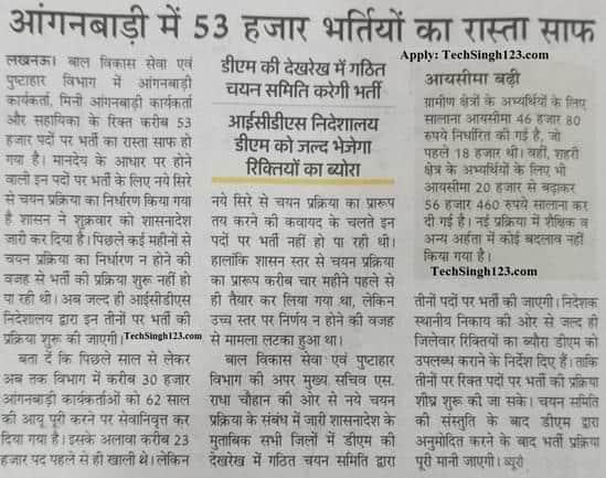 UP 53000 Anganwadi Bharti Update