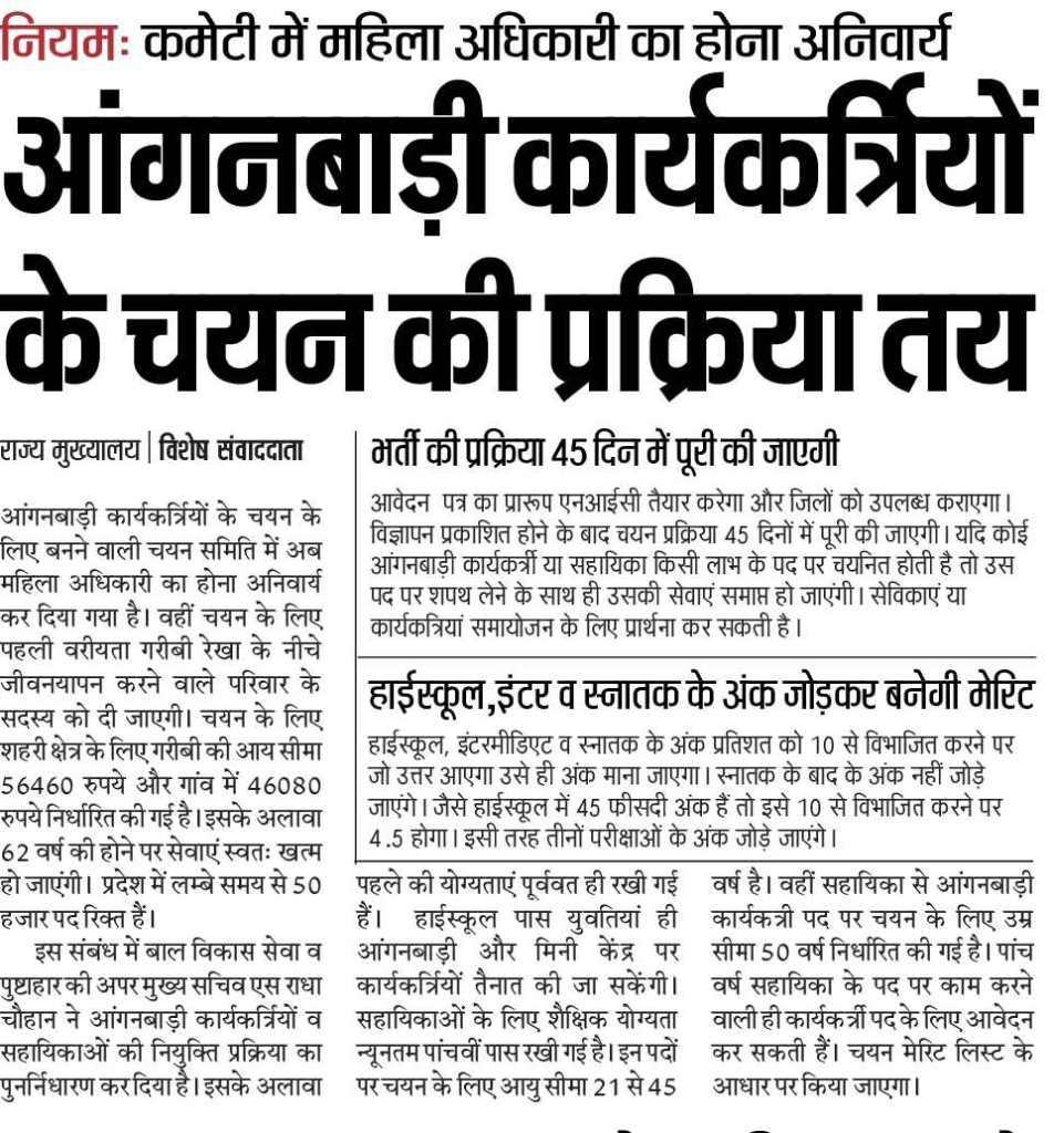 UP Anganwadi Bharti 2021 आंगनबाड़ी भर्ती - District Wise List Now