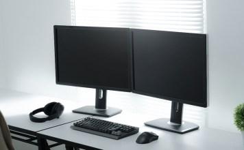 Dual monitors on computer desk