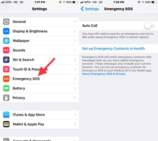 iOS 11 emergency SOS feature