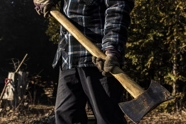 A lumberjack with a felling axe