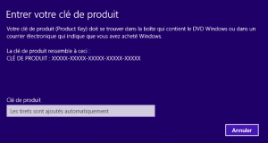 Rentrer ou modifier sa clé Windows 8 - Boite de dialogue Windows 8.1