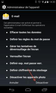 Supprimer compte de type E-mail Entreprise sous Android - Valider la désactivation en cliquant sur Désactiver