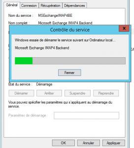 Régler en automatique et démarrer le service microsoft exchange imap 4 backend