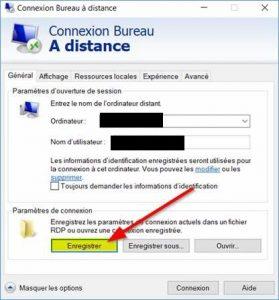 Enregistrer le fichier RDP
