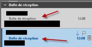 Affichage de l'information dans Outlook