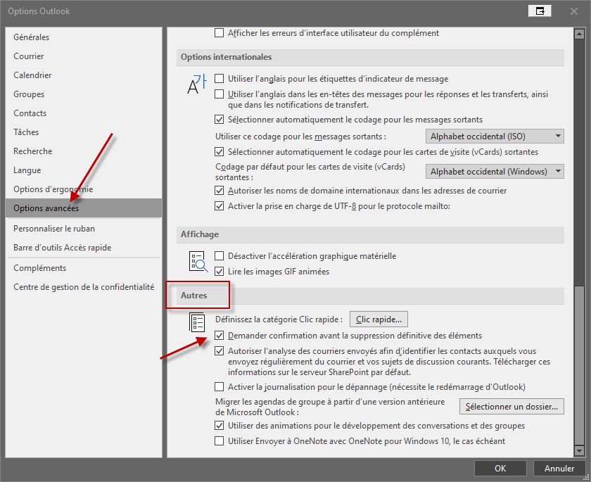 Désactiver la notification de suppression dans Outlook