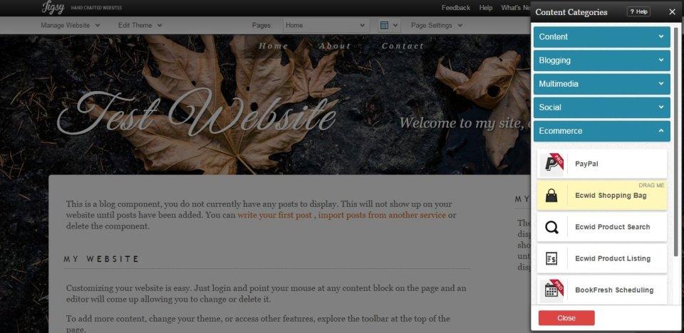 Jigsy website builder editing options