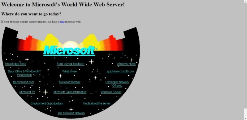 Microsoft's website in 1994