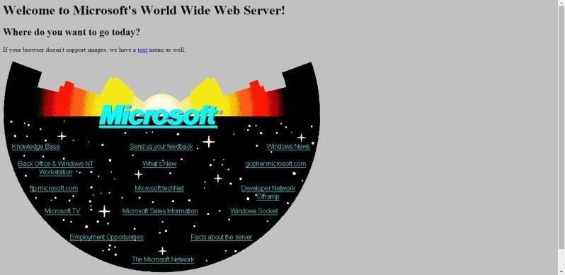 Microsoft's website in 1994