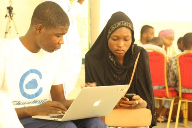 Participants during the hackathon- Aminu Bakori and Farida Muhammad