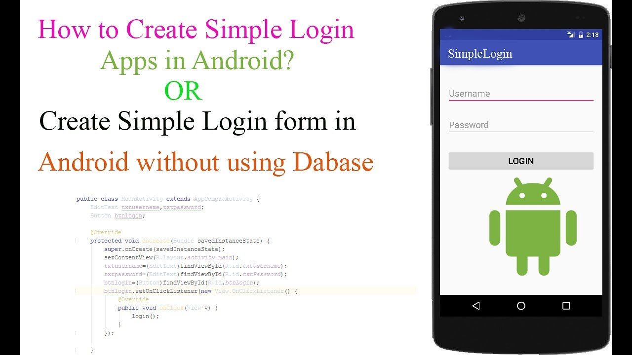 how to create simple login form in android studio without using