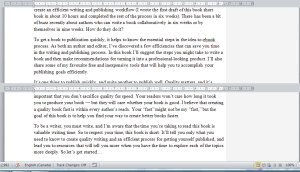 Note the horizontal rule in Word's split-screen view