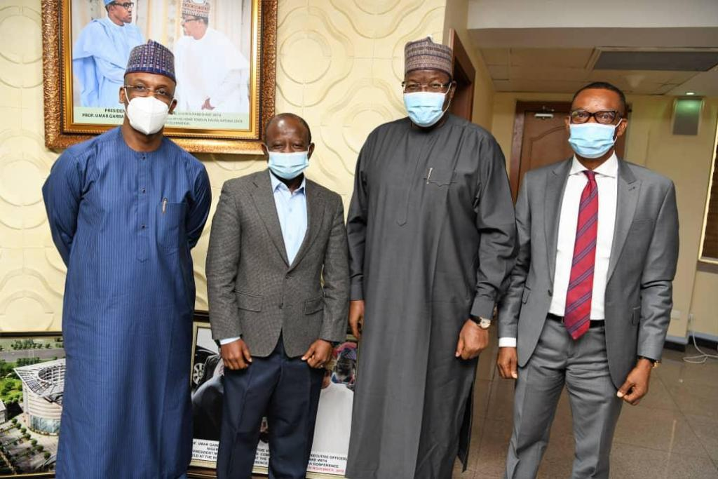 L-R: Head, International Affairs, Nigerian Communications Commission (NCC), Mr. Ibrahim Galadima; Head of Delegation from Guinea-Bissau, Mr. Teofilo Lopes; Executive Vice Chairman/Chief Executive Officer, NCC, Prof. Umar Garba Danbatta; Director, Public Affairs, NCC, Dr. Ikechukwu Adinde, during a benchmarking courtesy visit  to the Commission in Abuja recently.