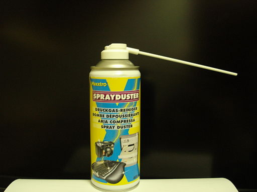 Gas duster, also known as compressed air or canned air