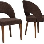 Baxton Studio Lucas Mid-Century Style Dining Chair with Brown Fabric (Set of 2)