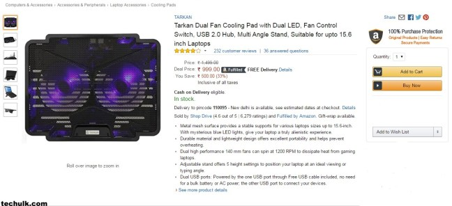 Dual LED Laptop Cooling Pad